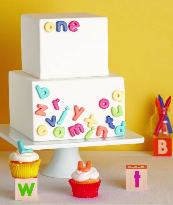 Alphabet First Birthday Cake