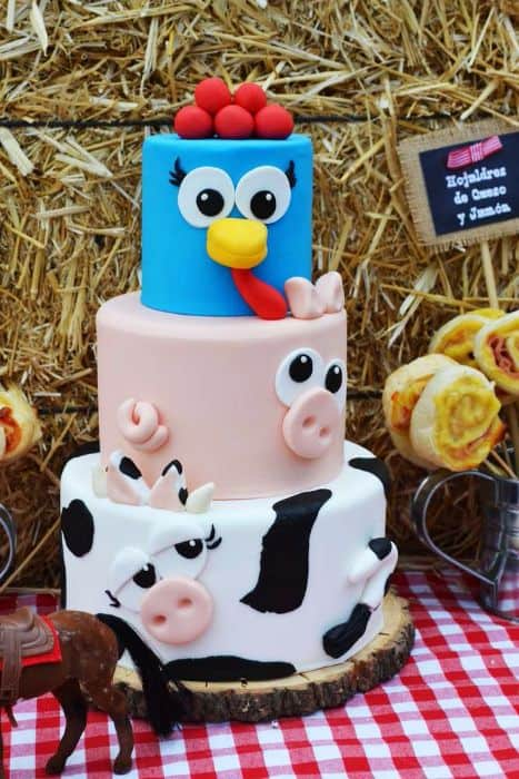 Farm Animal 1st Birthday Cake