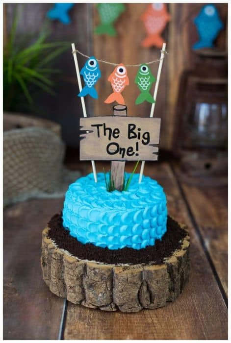 Fishing 1st Birthday Cake