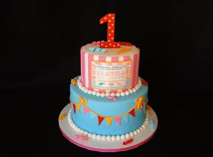 Vintage Circus 1st Birthday Cake